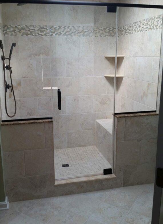 New shower design by LeFaivre bathroom contractors.