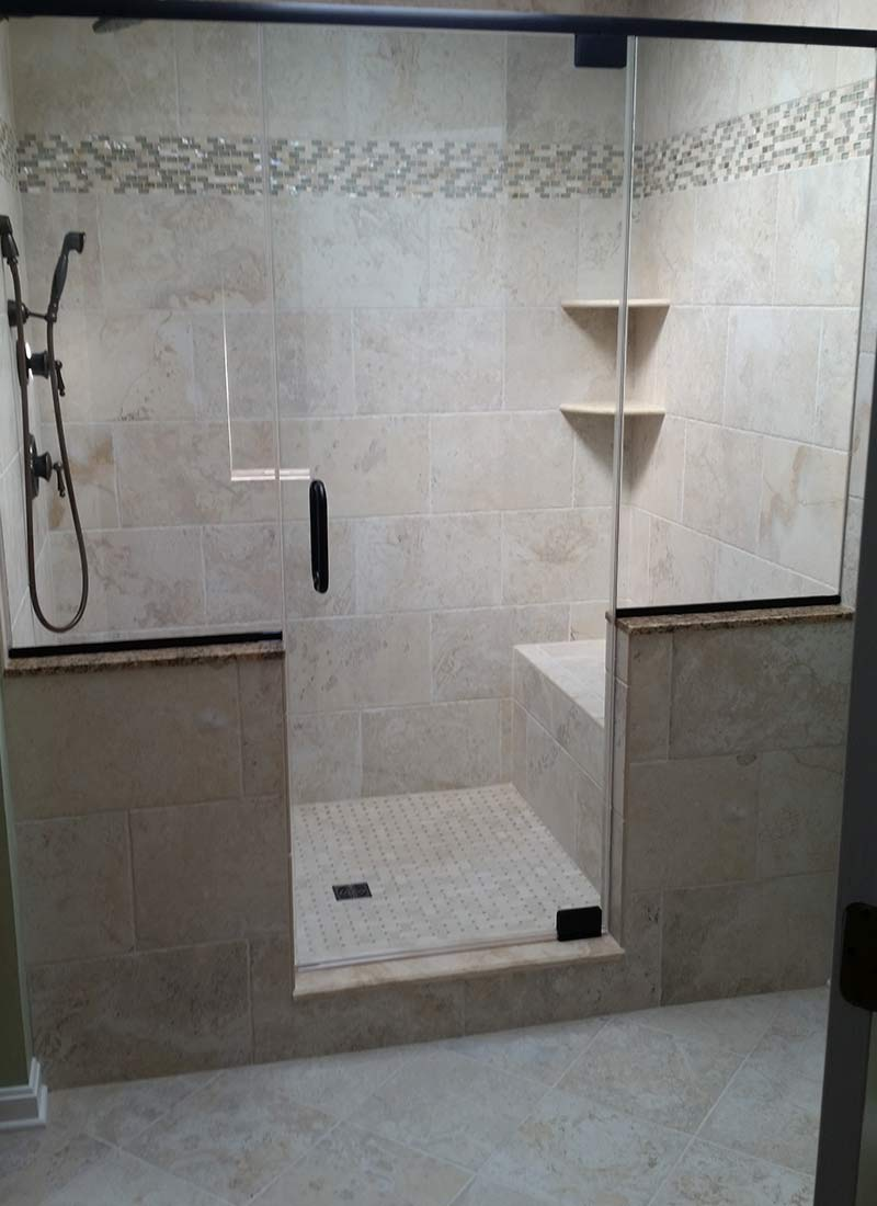 New shower design by LeFaivre bathroom contractors.